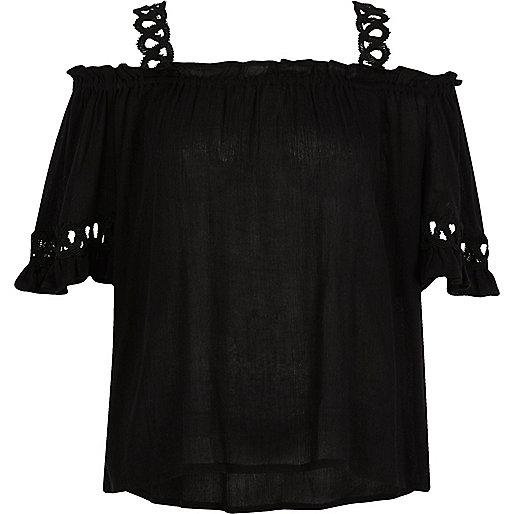 Black lace insert cold shoulder top