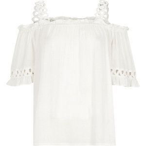 Cream crochet strap cold shoulder top