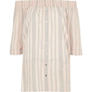 Pink stripe chambray bardot button front top