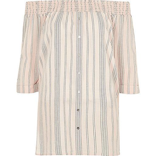 Pink stripe chambray bardot button front top