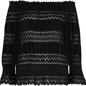 Black sheer panel bardot top