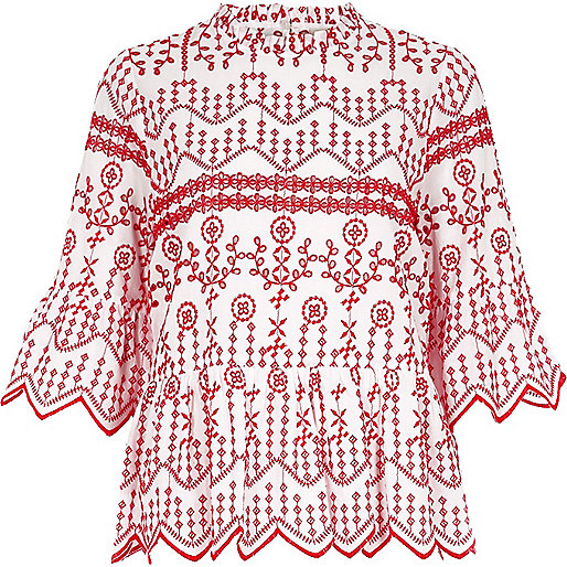 Red embroidered long sleeve smock top