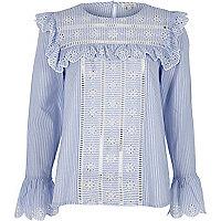 Blue stripe frill broderie blouse