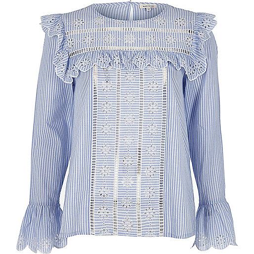 Blue stripe frill broderie blouse