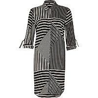 Gestreiftes Blusenkleid in Schwarz und Weiß