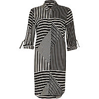 Black and white striped shirt dress