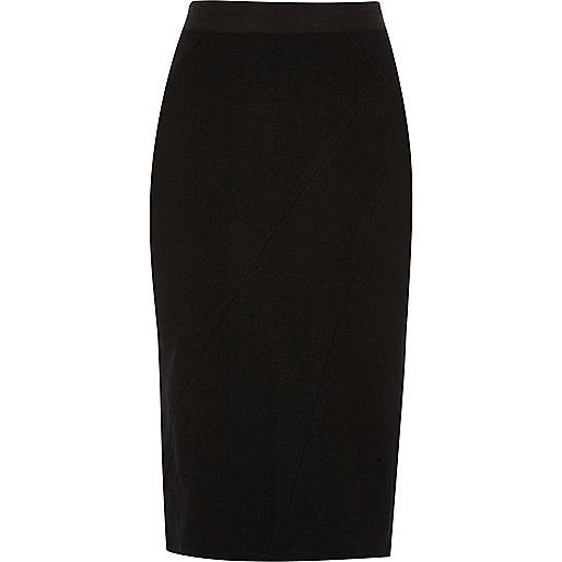 Black asymmetric seam ponte pencil skirt