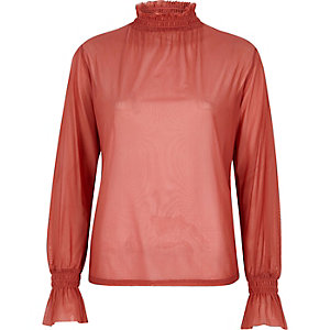 Coral shirred neck textured mesh top