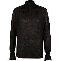 Zwarte mesh top met textuur en gesmokte hals