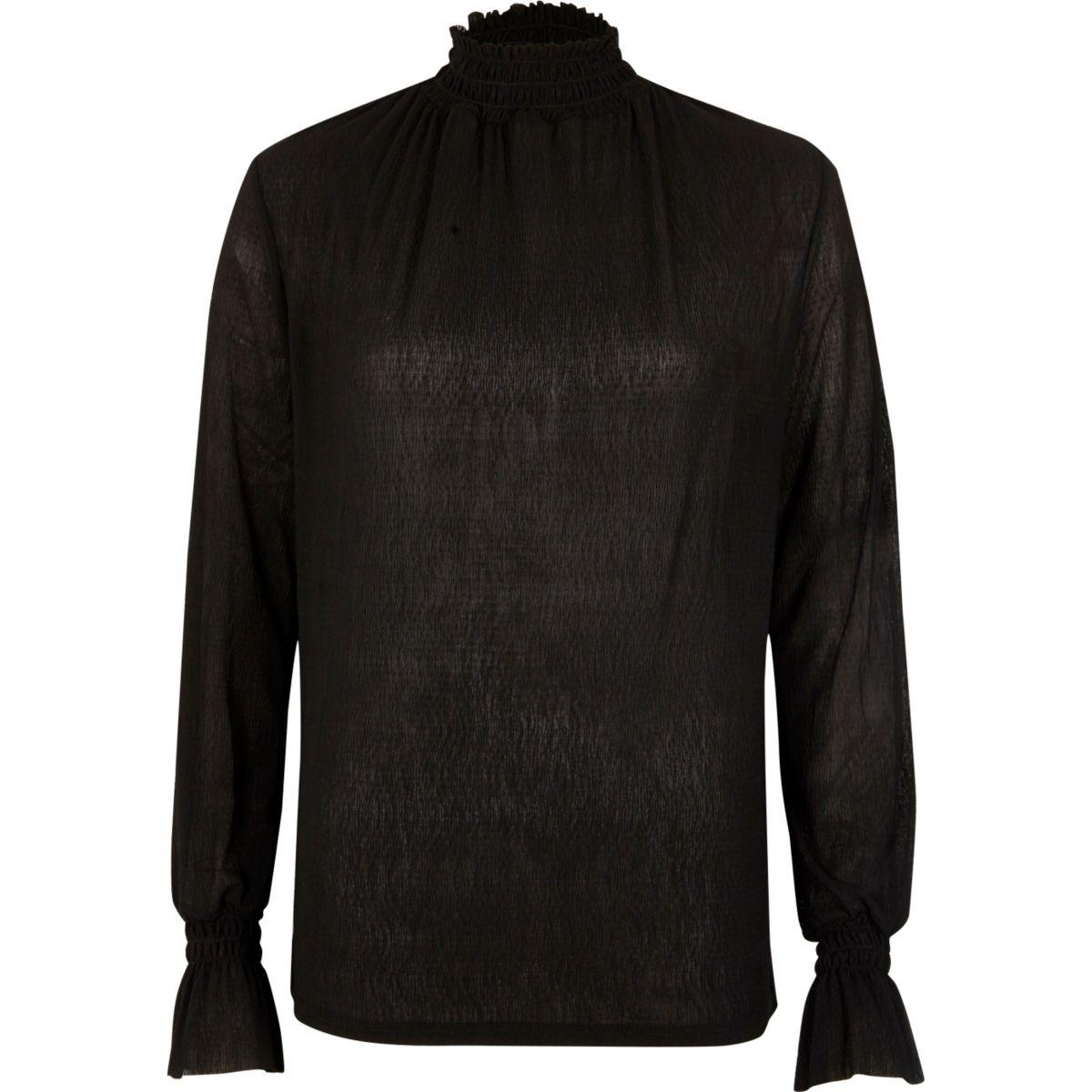 Black shirred neck textured mesh top