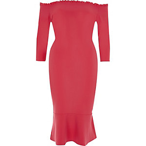 Pink frill hem bardot bodycon dress