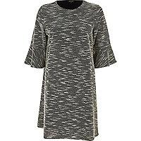 Black jacquard flute sleeve dress