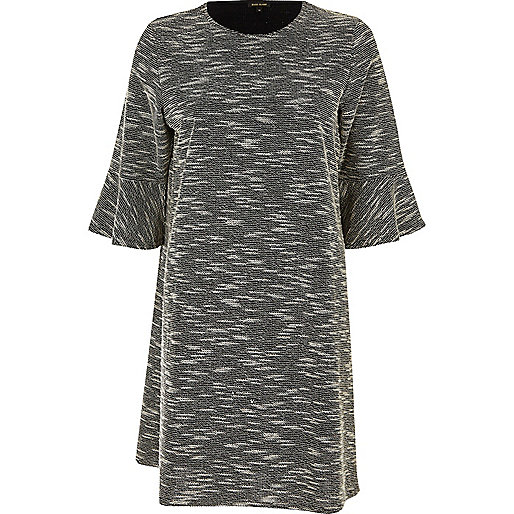 Black jacquard flute sleeve dress