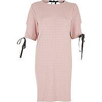 Blush pink bow T-shirt dress