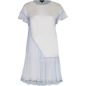 Light blue mesh frill smock dress