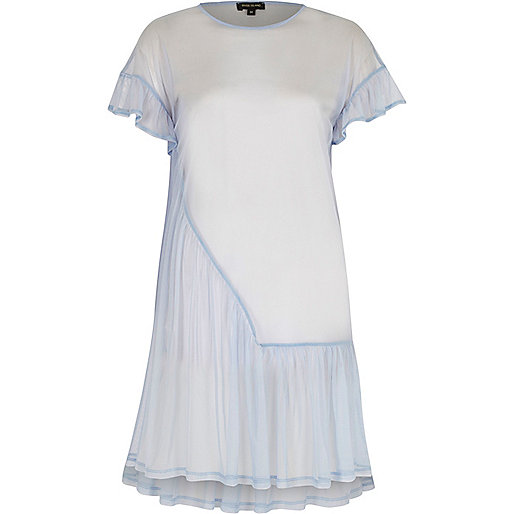 Light blue mesh frill smock dress