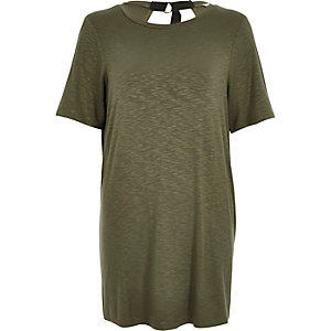 Khaki green backless T-shirt