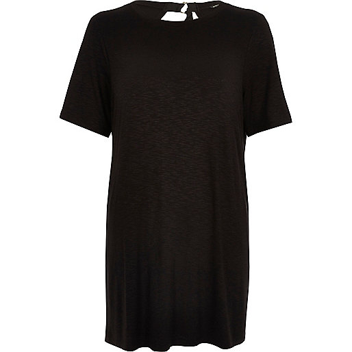 Black backless oversized T-shirt