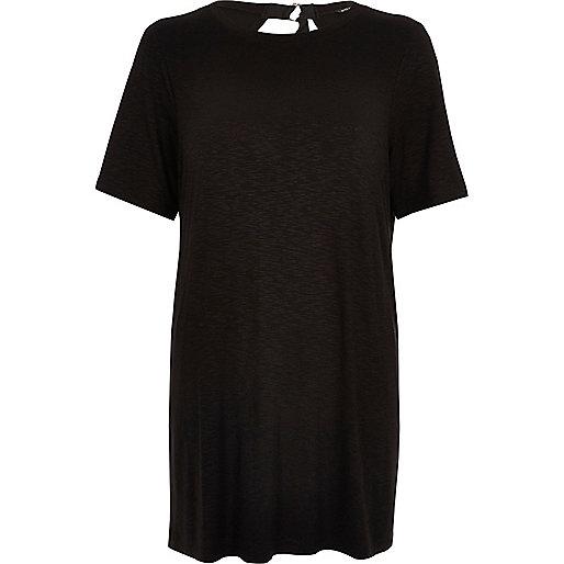 T-shirt oversize noir à dos-nu