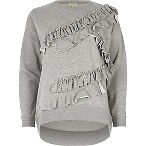 Grey long sleeved frill detail sweatshirt