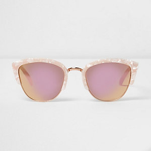 Pink mirror cat eye tortoiseshell sunglasses