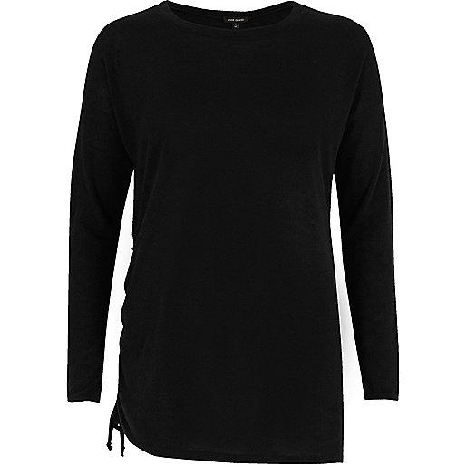 Black ruched drawstring side top