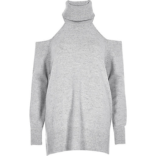 Grey roll neck sweater