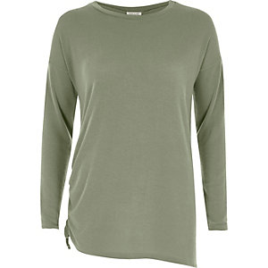 Light green ruched drawstring side top