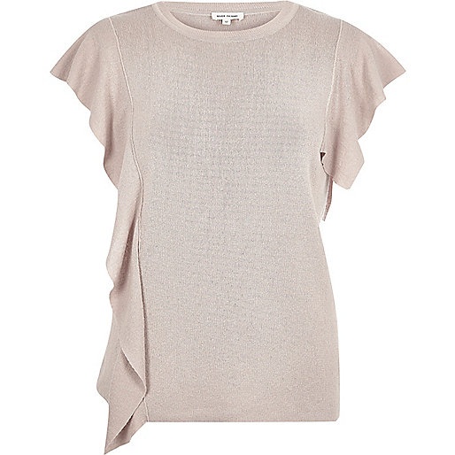 Pink frill front top