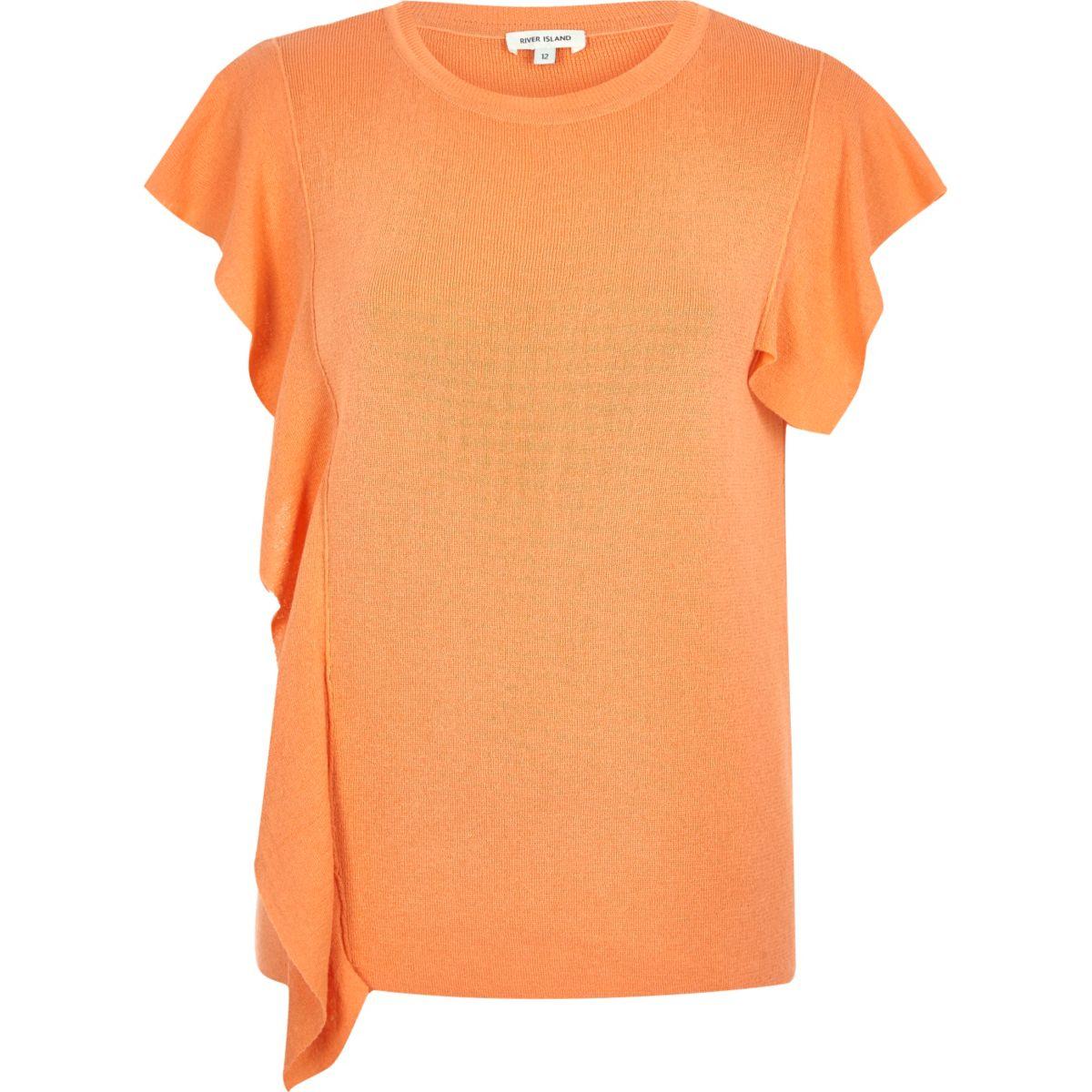 Orange frill front top