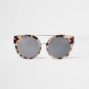 Grijze cat-eye-zonnebril met camouflageprint