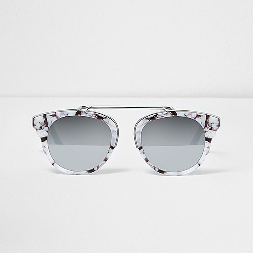 White marble brow bar sunglasses