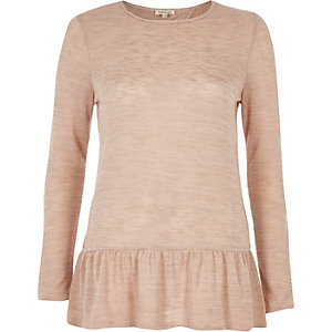 Nude long sleeve peplum top