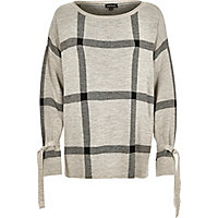 Grey check print knit jumper