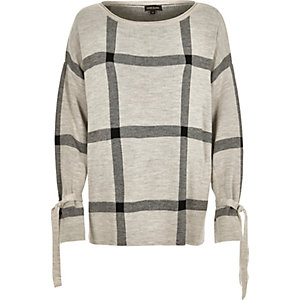 Grey check print knit sweater