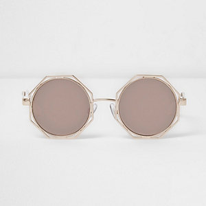 Gold octagon smoke lens sunglasses