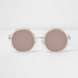 Goudkleurige achthoekige zonnebril met grijze glazen