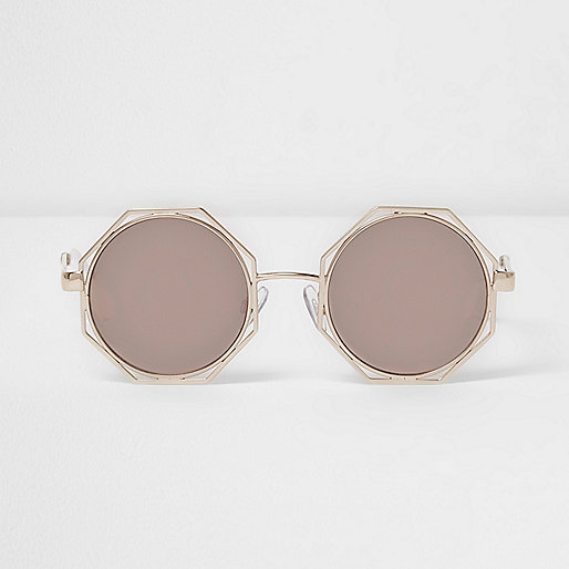 Gold octagon mirror lens sunglasses