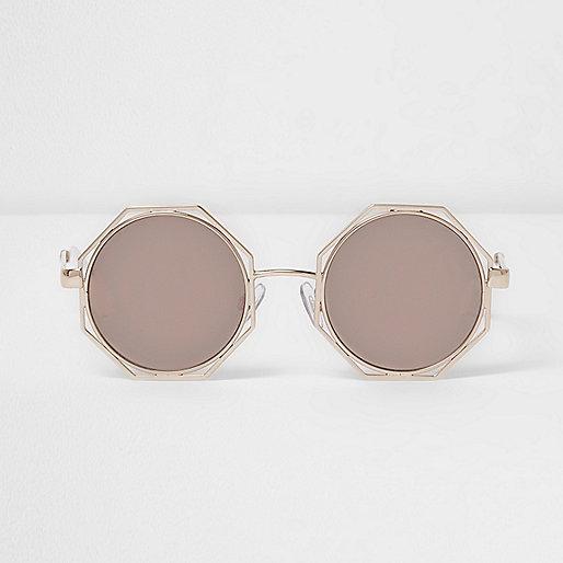 Gold octagon mirror lens sunglasses