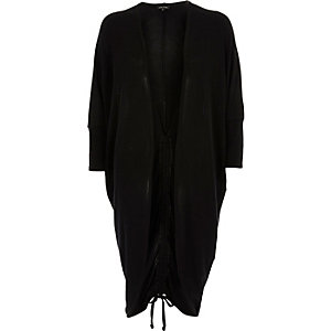 Black oversized ruched back cardigan