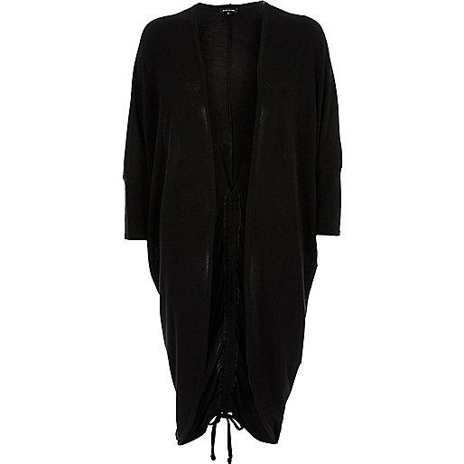 Cardigan oversize noir à fronces dans le dos