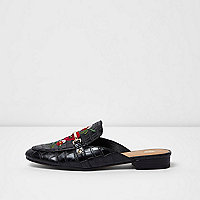 Black embroidered floral backless loafers