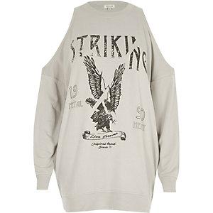 Grijs schouderloos sweatshirt met bandprint