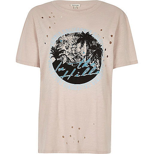 T-shirt imprimé California rose effet burnout