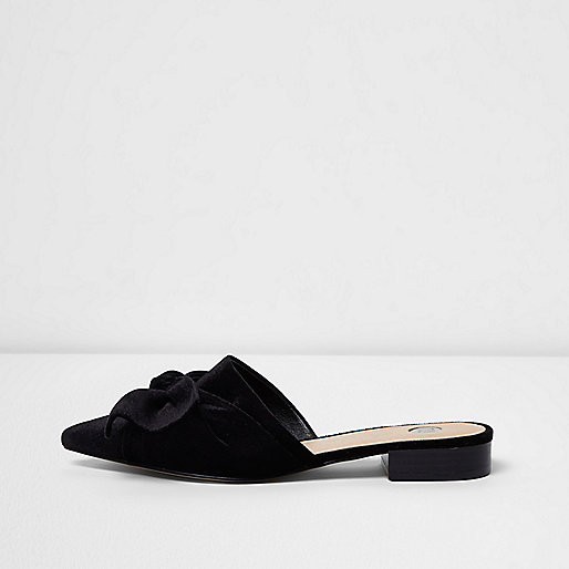 Black velvet bow backless mules