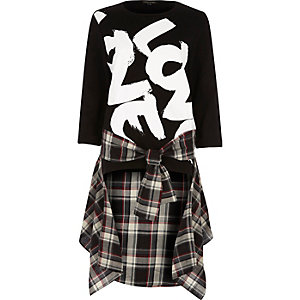 Black love print check shirt hem sweatshirt