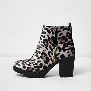 Brown leopard print chunky boots