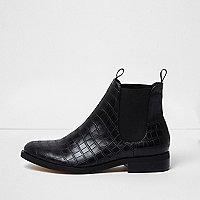 Black crocodile print chelsea boots