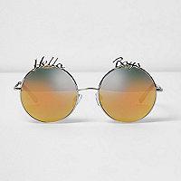 Silver tone 'hello boys' round sunglasses