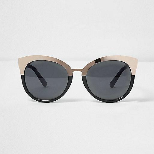 Black gold tone plate smoke lens sunglasses